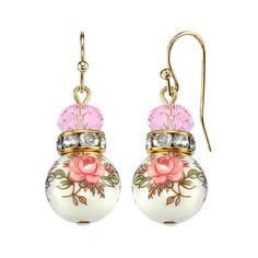 1928 Jewelry Gold Tone Light Rose Pink And Floral Beaded Drop Earrings. These earrings are sweet, petite and completely romantic. Featuring gold-tone multifaceted pink beads and round rose decal beads connected by crystal embellished rounded accents. Wire Jewelry, Jewelry Crafts, Gold Jewelry, Beaded Jewelry, Jewelry Model, Jewellery, Jewelry Ideas, Diamond Jewelry, Jewelry Box