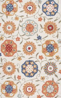 Radiante Floral Garden Ivory Rug | Country & Floral Rugs #RugsUSA