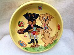 Dog Bowl 6 Dog Bowl for Food or Water Personalized at no Charge Signed by Artist Debby Carman -- See this great product. (This is an affiliate link) Elevated Dog Bowls, Raised Dog Bowls, Stainless Steel Dog Bowls, Dog Water Bowls, Pet Cremation, Pet Urns, Dog Travel, Pet Bowls, Serving Platters