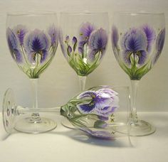 Hand Painted Wine Glasses Iris and Dragonfly by The PaintedMann, via Flickr