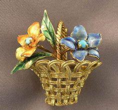 Vintage 18K Italian Gold Enamel Flower Basket Pin 50s   eBay