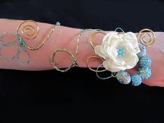 PROM SALE Custom Fabric and Wire Wrist Corsage by JadeVineDesigns, $48.00