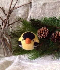 Goldfinch Christmas Ornament  needle felted wool by WoolyDoodles4u, $20.00