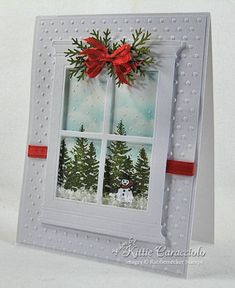 Madison Window~'sponged in the sky using a sponge and hand cut cloud template and then stamped the trees. I painted white craft ink on the trees, ground and painted snowflakes and then embossed with white ep. I added a touch of flower soft to the ground for a puffy snowy look.'