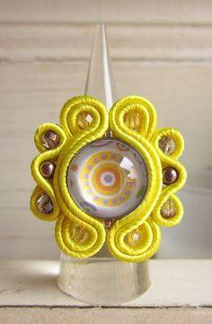 Yellow soutache ring
