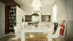 white dining table and chairs.