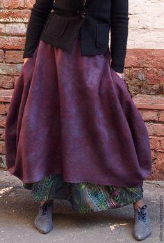 """Купить Юбка валяная """"WINTER PLUM"""" - бордовый, однотонный, юбка длинная, валяная юбка"""