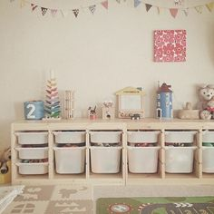 Pine trofast with white bins Playroom Storage, Playroom Design, Toy Storage, Baby Bedroom, Girls Bedroom, Conservatory Playroom, Trofast Ikea, Montessori Room, Ikea Kids