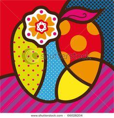 Apple Pop Art by Romero Britto Arte Pop, Psychedelic Art, Pop Art, Fruit Vector, Graffiti Painting, Art Plastique, Art Google, Art Lessons, Modern Art