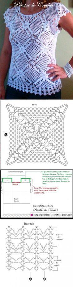 Crochet top for women. Crochet patterns for tops Pull Crochet, Crochet Shirt, Filet Crochet, Crochet Motif, Crochet Lace, Crochet Stitches, Modern Crochet Patterns, Crochet Summer Tops, Crochet Blocks