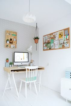 How to have a light, bright corner when there isn't a window. My Attic: A Happy Home: New Workspace
