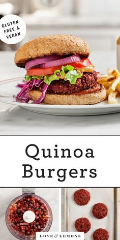 This vegan quinoa burger recipe is easy, healthy, and full of plant-based protein! The patties are hearty and flavorful, thanks to nuts, beans, and spices. | Love and Lemons #veggieburger #quinoa #healthyrecipes #plantbased Vegetarian Main Course, Vegetarian Main Dishes, Vegetarian Dinners, Burger Recipes, Veggie Recipes, Real Food Recipes, Healthy Recipes, Healthy Food, Black Bean Quinoa Burger