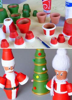 Personnages de Noël et mini sapin avec des pots de fleurs. 16 Décorations trop chouettes à faire avec des pots de fleurs