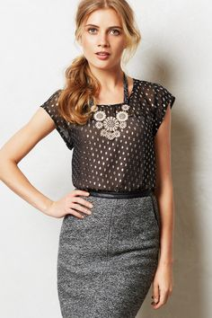 Shimmered Clipped Dot Blouse - anthropologie.com