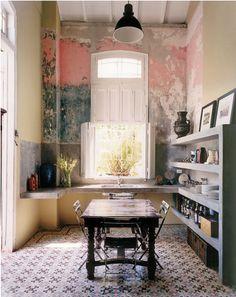 DREAM STYLE ALERT 2! The Havana villa of Pamela Ruiz and Damian Aquiles. Incredilbe Spanish rustic dining nook.