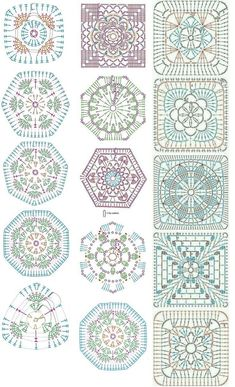 Easy to make crochet granny square pattern. Free crochet chart by Color'n creamColor 'n Cream Crochet and Dream: New Flower Squarecrochê passo a passo ( Crochet Motif Patterns, Granny Square Crochet Pattern, Crochet Diagram, Crochet Chart, Crochet Squares, Crochet Designs, Crochet Granny, Granny Squares, Crochet Doilies