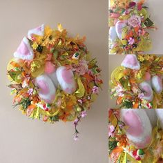 Spring, bunny wreath. Available in my etsy store. Come check it out. Use coupon code SPRINGHURRAY to get 15% off. Minimum purchase 35€. Worldwide shipping. Unique, one of a kind. Looking for new forever home.