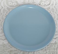 Vintage Set of 4 Rubbermaid 3840 Country Blue Dinner Plates Melamine Picnic RV