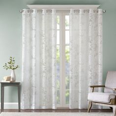 Madison Park Bedroom, White Living Room, Leilani Coastal Fabric Grommet Curtain Sheers, 50X63, 1-Panel Pack