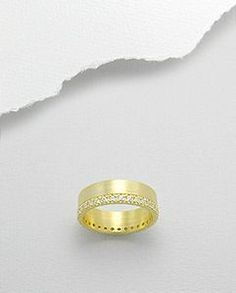 14K CZ Wide Band Sterling Silver Eternity Ring