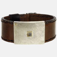 trdb312 | 18ky gold, sterling silver, raw diamonds (1.56ctw), leather