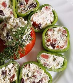 Stuffed peppers with yogurt, olives, cheese and dill Appetizer Salads, Appetizer Recipes, Salad Recipes, Appetizers, Bulgarian Recipes, Turkish Recipes, Bulgarian Food, Turkish Salad, Middle Eastern Recipes