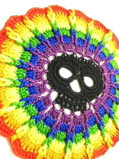 Crochet Overlay Pattern, Day Of The Dead Skull Overlay Rainbow, PDF Format, Halloween, Crochet Applique Pattern