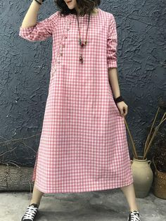 daily dress me Plaid Print Side Splited Women Dresses Linen Dresses, Women's Dresses, Fashion Dresses, Designer Kurtis, Designer Dresses, Plaid Dress, Shirt Dress, Daily Dress Me, Cheap Summer Dresses