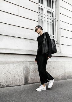 minimal maxi dress fashion blogger Paris street style Adid… | Flickr