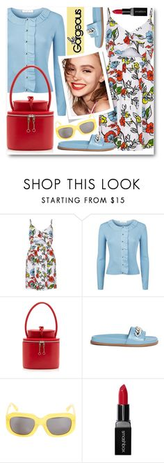"""""""Floral Cami Dress & Cardigan"""" by brendariley-1 ❤ liked on Polyvore featuring River Island, Sandro, Maison Margiela, Valentino, Naomi Campbell, Surface To Air and Smashbox"""