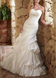 PERFECT SATIN MERMAID SWEETHEART NECKLINE PICK-UP KEYHOLE BACK RUCHED WEDDING GOWN WITH BEADINGS