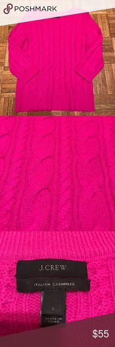 J. Crew Pink Cashmere 3/4 Sleeve Sweater Size S J. Crew Pink 3/4 Sleeve sweater. This is an Italian Cashmere sweater. Size Small J. Crew Sweaters Crew & Scoop Necks