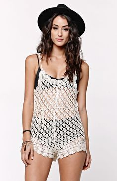 The Dream Lover Romper by Billabong for PacSun.com offers a crochet construction and belted waist. We love the tie straps and comfortable fit. Wear this romper with your swimwear for a cute cover up!