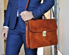 Leather briefcase for men Personalized gift Brown mens Briefcase For Men, Leather Briefcase, Laptop Bag, Italian Leather, Tan Leather, Briefcases, Messenger Bag, Satchel, Unisex