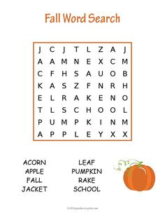 Easy Fall Word Search