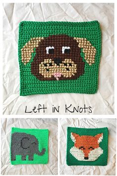 Grids for Kids: Pixel Graph Block D-F - free crochet pattern with cross stitch by Megan Meyer at Left in Knots.