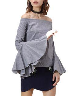 Kupuj tanio Women's T Shirt Stripe Pattern Slash Neck Off Shoulder Pastoral Top w Jollychic, Darmowa dostawa!