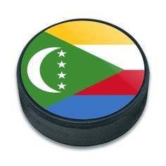 Comoros National Country Flag Ice (White) Hockey Puck