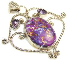 Copper Turquoise Amethyst Sterling Silver by SilverRushStyle, $62.99