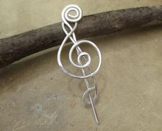 Little Treble Clef Sterling Silver Shawl Pin Scarf Pin