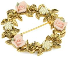 "1928 Jewelry Porcelain Rose Floral Wreath Brooch 1928 Jewelry. $32.00. Made in United States. If cleaning is necessary, use a dry polishing cloth. Do not use cleaners or solvents of any kind - if cleaning is necessary, use a dry polishing cloth. Measures: 1 3/4"" diameter. Always remove jewelry before bathing, exercising or swimming Made in United States"