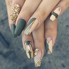 Classy Nails in 2019 Nail Art Nails Olive nails<br> Green Nail Designs, Acrylic Nail Designs, Nail Art Designs, Acrylic Nails, Nails Design, Unique Nail Designs, Fabulous Nails, Gorgeous Nails, Pretty Nails
