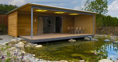 Dieses Modul-Haus wird innerhalb weniger Stunden aufgebaut. Wie ein kleiner Luxus-Bungalow erfüllt es alle Ansprüche an designtes und wohngesundes Komfort-Wohnen. - Bungalow Poolhaus