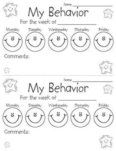 Behavior Calendars for the 2015-2016 school year