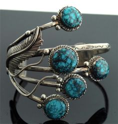 Vintage Cuff | Plateroine (Navajo).  Sterling silver and spiderweb turquoise.