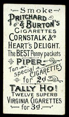 Cigarette Card Back - Pritchard & Burton