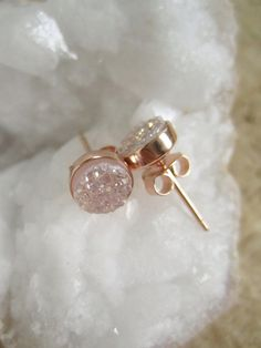 NEW Natural Druzy Rose Gold Studs Titanium Drusy by julianneblumlo, $60.00