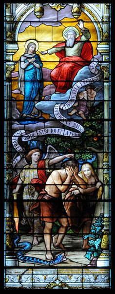 Adam and Eve expelled from paradise and the new Eve, Mary, mother of God, Jesus. Church of the Immaculate Conception Church, Montreal.