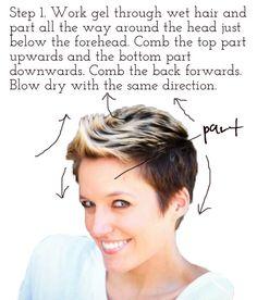Styling short hair (faux hawk) via lilblueboo.com