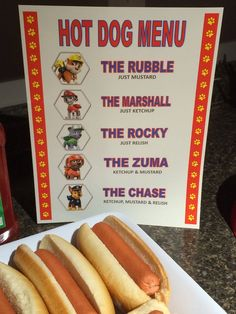 Paw patrol inspired hot dog menu
